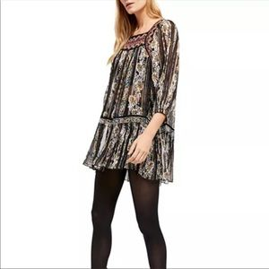 Free People Embroidered Floral Tunic Top NWT